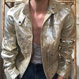 Vintage 100% leather gold metallic Moto jacket